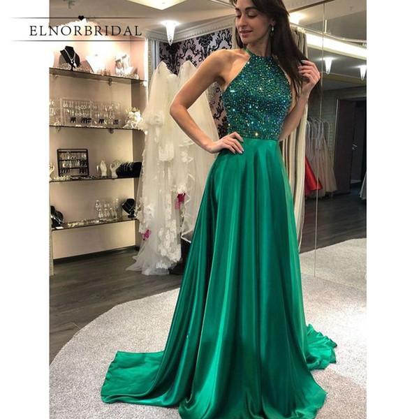 Verde smeraldo abiti da ballo perline 2019 vestido de fiesta A Line Abiti Occasioni speciali Custom Made gala jurken Abiti formali