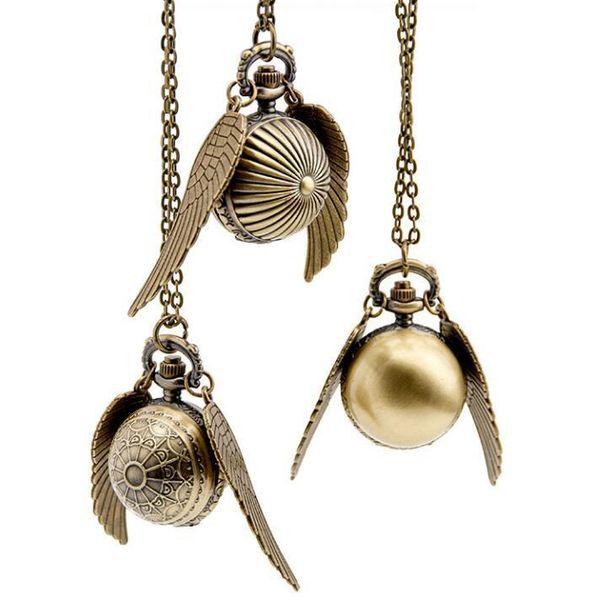Golden Snitch Bronze antiques Big wings quartz pendant Necklace pocket watches gift C19010301
