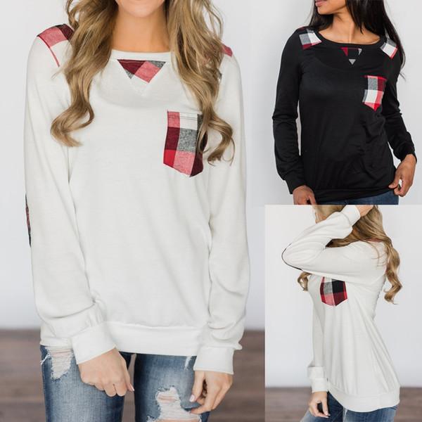 Женская зимняя женская футболка из полиэстера Модная женская повседневная пэчворк с цветным принтом с длинным рукавом с длинным рукавом blusas Tops
