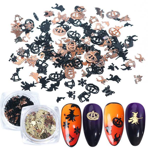 top popular Mix Black Gold Metal Decorations Nail Art Flakes Pumpkin Witch Spider Bat 3D Slice Halloween DIY Supplies 2019