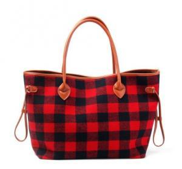Women Tote Bag Black Red Plaid handbags Flannel Christmas Fashion Handbag With Faux Leather Handle Bottom Outdoor Bags GGA1488