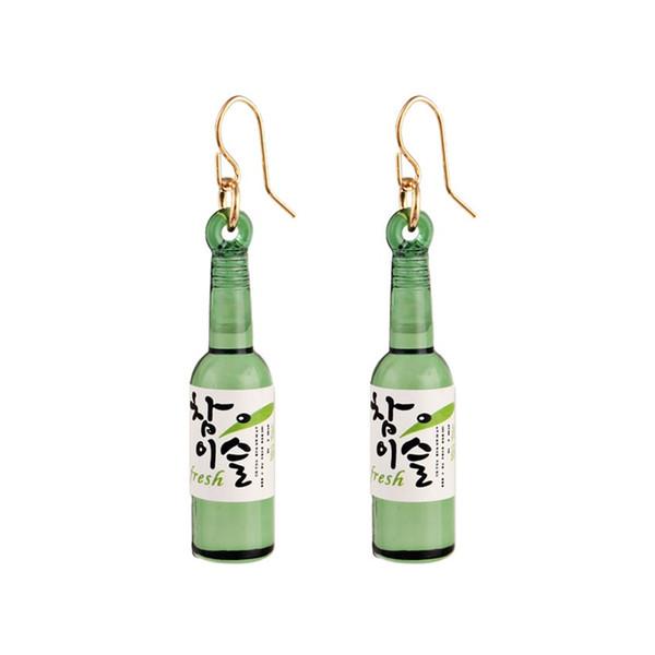 Kore Sake Euramerican Bira Şişesi Ilginç Küpe 925 Gümüş Moda Kişilik Baitao Küpe Tasarım Net Kırmızı Duygusu