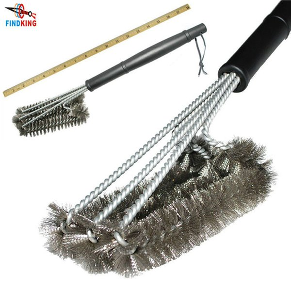 """18"""" Rugged Cleaning Tool Grill Brush 3 Stainless Steel Brushes In 1 Provides Effortless Cleanin Bbq Accessories Q190603"""