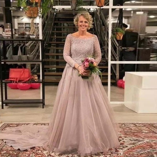 Vintage Mother Of The Bride Dress Scoop Neck Long Sleeve Ribbon Belt Tulle Women Formal Wear Evening Gown Plus Size Prom Dress