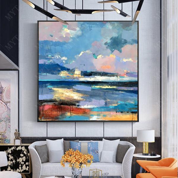 Pittura a olio dipinta a mano su tela di canapa albero di colore rosso fiore pittura a olio astratta moderna tela arte della parete soggiorno Decor Picture