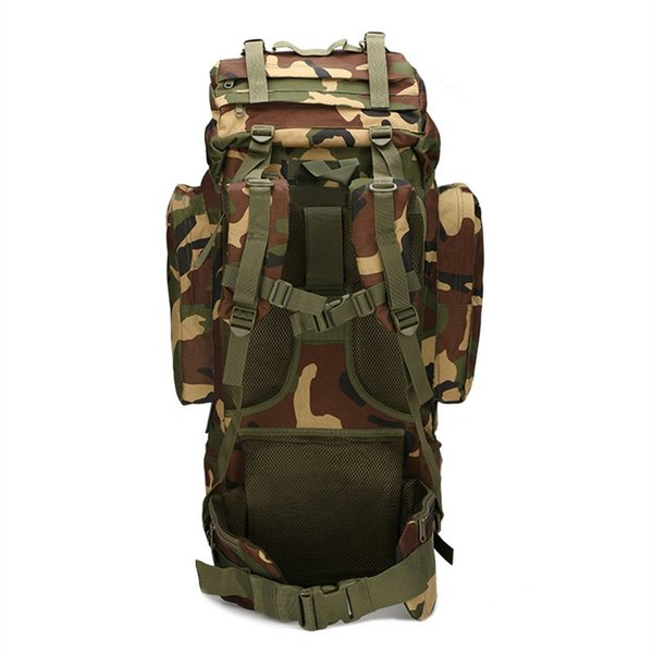Fishing 65L large capacity mountaineering bag outdoor supplies camping camping bag on foot waterproof cover camouflage backpack #963260