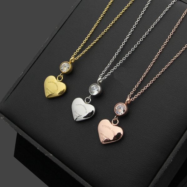316L titanium steel Fashion Heart-shaped Pendant Necklace for Women's Titanium steel plating Rose Gold letter CZ Necklace Jewelry