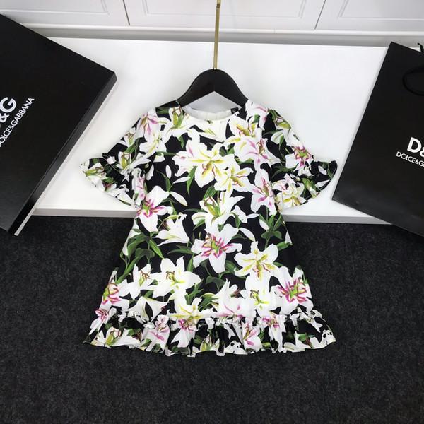 Girl dress kids designer clothing sweet wind lily pattern dresses light fabric lining cotton autumn fashion glamour dresses