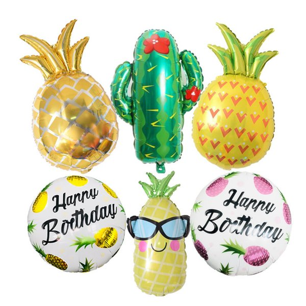 Summer Pineapple Cactus Foil Balloons Kids Toy Plants Beach Birthday Party Decorations Inflatable Air Helium Balloon Photo Props