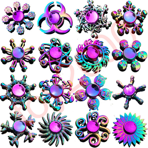 Rainbow Metal fidget spinner star flower skull dragon wing Hand Spinner for Autism ADHD Kids adults antistres Toy EDC Fidget Toy