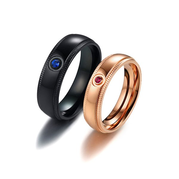 Titanium Steel Blue/Pink Zircon Couple Rings for Women Men Rose Gold Color Wedding Engagement Rings Jewelry Valentine Day Gifts