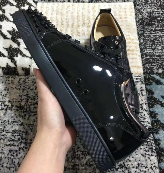 2019 Perfect Junior Spikes Red Bottom Men's Flat Multi Genuine Leather Sneaker Women's Walking Famous Brand Leisure Original Box36-47 17754