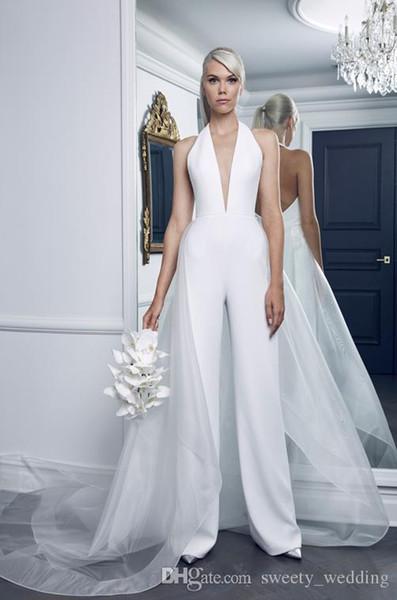 Moda 2019 Mais Novos Vestidos de Casamento Branco Com Organza Overskirt Sexy Profundo N Vexk Macacão Até O Chão Vestido de Noiva Do Casamento
