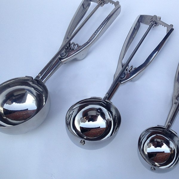 Stainless steel spoon kitchen ice cream mashed potatoes watermelon jelly yogurt cookies spring handle scoop kitchen accessories