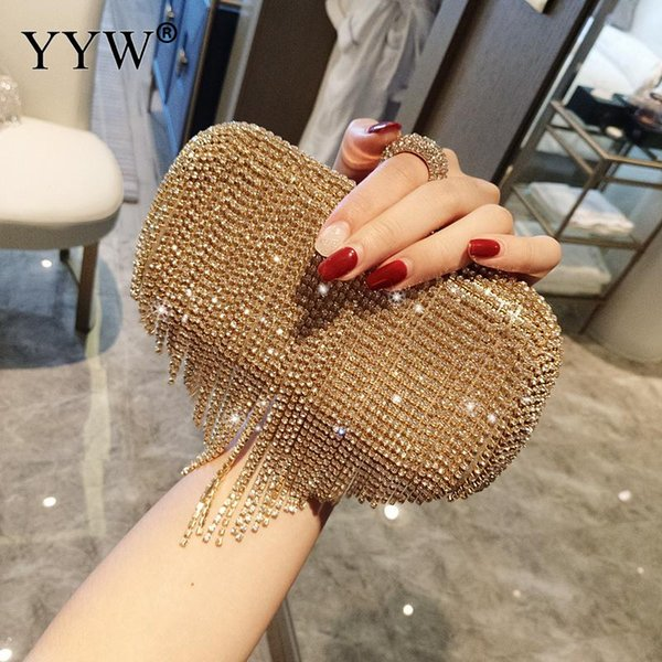 Gold Silver Evening Clutch Bag Purse for Women Bling Rhinestone Chain Evening Hands Bag for Party Wedding Banquet