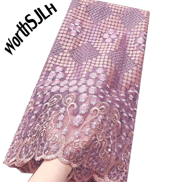 WorthSJLH Latest Tulle Fabrics Lace 2019 Lilac Net Guipure Embroidery Lace Material Royal Blue Beaded African Fabric Lace With Stones