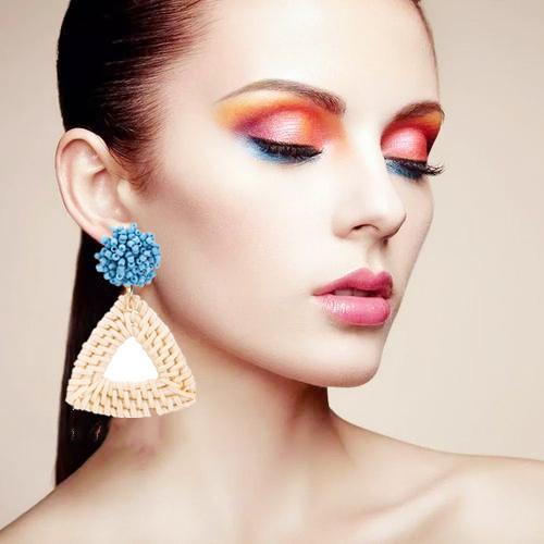 Rattan earrings straw wicker woven pendant earrings triangle ladies girls light handmade ball