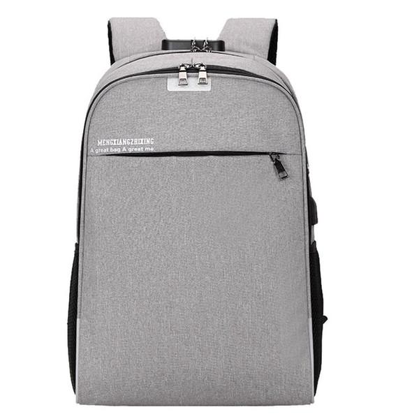 Men's 15 Inch Laptop Backpack Computer Unisex Usb School Backpacks Rucksacks Leisure For Teenage Mochila Escolar Gray Bag
