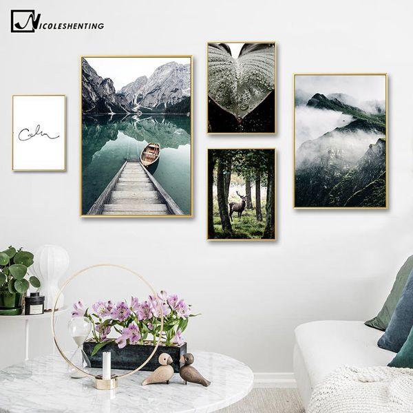 Acheter Montagne Lac Réflexion Image Nature Paysage Affiche Scandinave Nordique Décoration Imprimer Paysage Mur Art Toile Peinture De 3507 Du