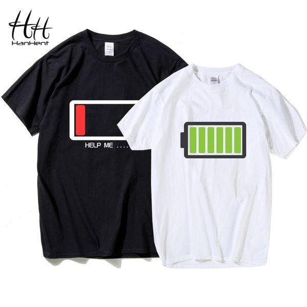 HanHent забавный дизайн батареи 2018 футболка для пар Валентина подарок футболки любителей хип-хоп футболка homme Camisetas рубашка