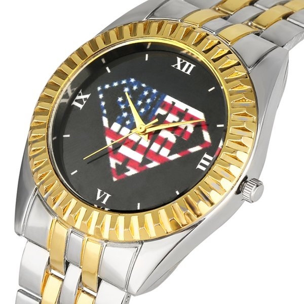 Exquisite Quartz Analog Watches Creative Pattern Dial Golden Case Watch for Men Comfortable Stainless Steel Band Wristwatch for Male