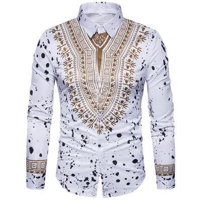 New Tops men's casual shirt 2019 spring 3D National style printing Floral pattern men Korean fashion long sleeve Dress Shirt EU size