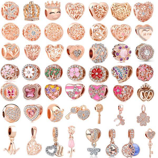 50 pz / lotto (ciascuno per uno) rosa oro rosa europeo misto fascino beadclip fit braccialetto di fascino pandora per le donne gioielli fai da te B11