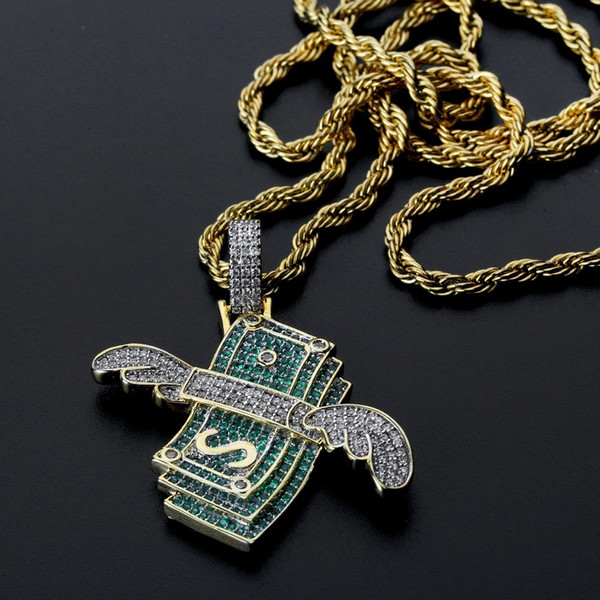 New Iced Out Flying Cash Solid Pendant Necklace Mens Personalized Hip Hop Gold Silver Color Charm Chains Jewelry Gifts J190712