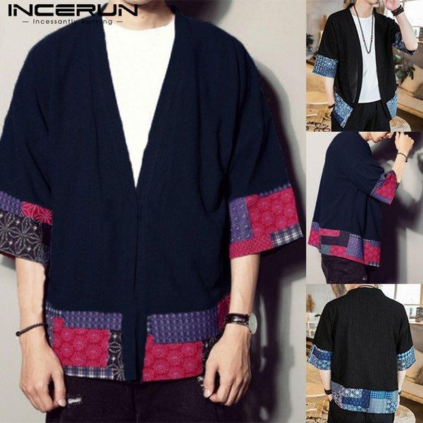 Étnica Manto Cardigan Trincheira Casaco dos homens Meia Manga Ponto Aberto Outono Casaco Solto Floral Patchwork Outwear Hombre Moda Outfit