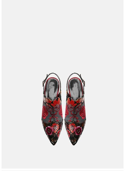 2019 лето новые кожаные женские туфли бутон шелкография ажурная вышивка цветок остроконечные сандалии на высоком каблуке