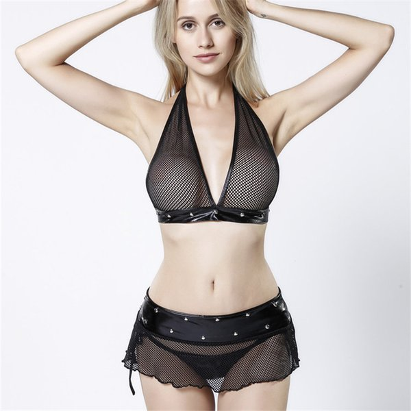 bacc175d0 Plus size women sexy bra set underwear intimates Ladies sexy Lingerie set G  String Lace Sleepwear 3 pieces women sets three-point temptation