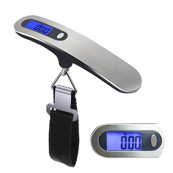 Hand Held Belt Scale 50kg/110lb Lcd Digital Hanging Scale For Travel Suitcase Luggage Hanging Scales Weighing Balance Electronic
