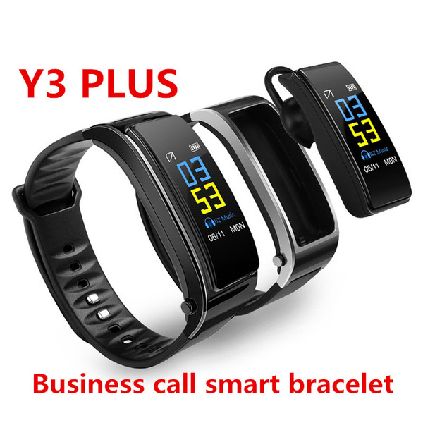 Y3 Plus Bracelet Intelligent Discussion Bracelet Fitness Tracker Moniteur De Fréquence Cardiaque Bluetooth Écouteur Montre Intelligente Pour IOS Android Avec Emballage