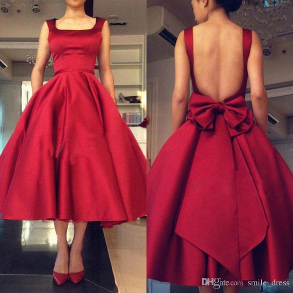 Red Tea Length Ball Gown Prom Dresses With Big Bow Backless Party Evening Cocktail Gown Formal Dresses WP120