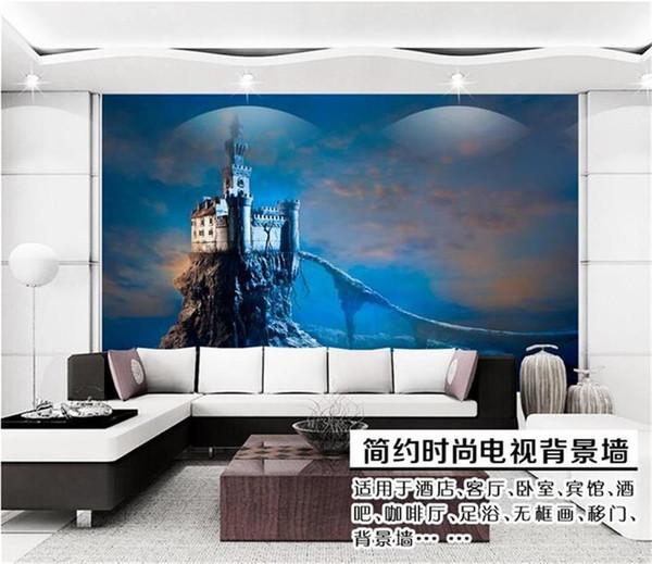 Personnalisé taille 3d photo papier peint mural salon glace et neige monde bleu château image canapé TV toile de fond papier peint peinture murale non-tissé autocollant