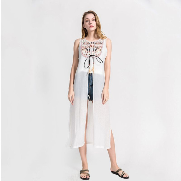 52353a671b3852 Women Summer Vest Style Open Front Cardigan Ethnic Retro Embroidered  Neckline Swimsuit Cover Up Side Split