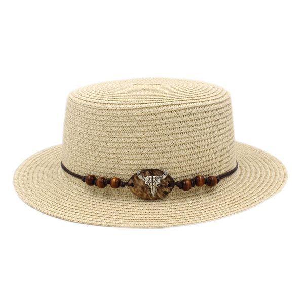 6ada64ab5976d Fashion Ladies Summer Straw Boater Hat Sailor Women Porkpie Hat Bowler  Beach Sun Top Cap Western