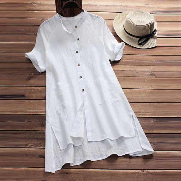Summer Tops For Womens Tops and Blouses 2018 Streetwear Solid Button Short Sleeve Long Shirts Tunic Ladies Top Clothes