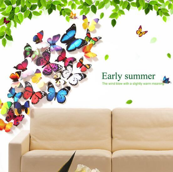 3D simulation butterfly wall sticking refrigerator sticking living room glass decoration sticking 12 modern simple style