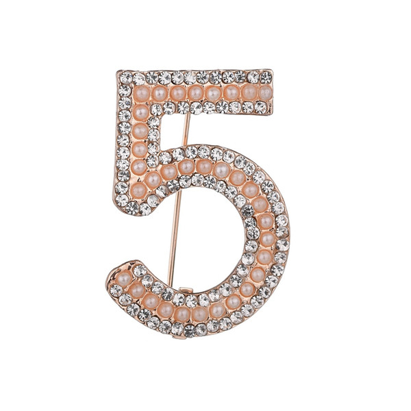 Gold&Colorful Fashion Brooches Letter 5 Full Crystal Rhinestone Brooch Pins For Women Party Flower Number Brooch b335