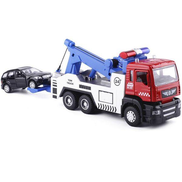 Alloy Tow Truck (1/32) +1pc Smaller Cars (1/64) #5009-1 Die-Cast Car Head W/Car Lights & Sound Toy Traffic Car