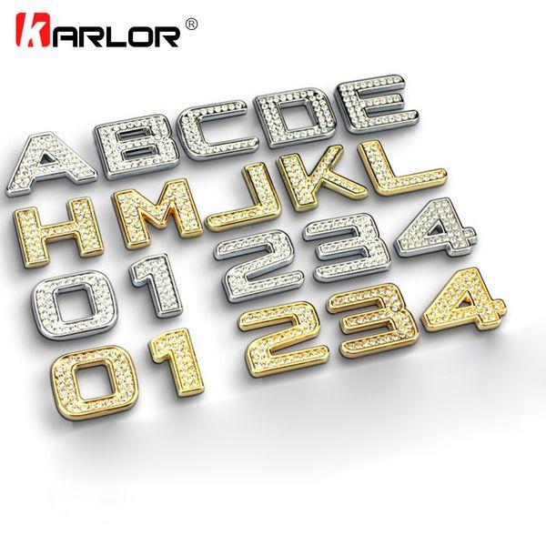 3.2cm Luxury Bling Metal Crystal Diamond Badge Decals Car Letter Alphabet Sticker Emblem DIY 3D Metal Custom Auto Decoration