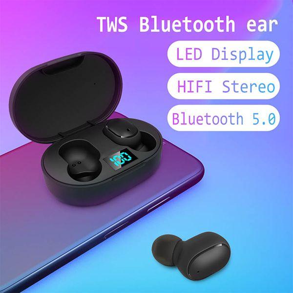 Mini TWS Wireless-Earbuds E6S Kopfhörer Hifi Sound-Bluetooth-Kopfhörer 5.0 mit Dual Mic Led-Anzeige Ohrhörer Auto Pairing Headsets