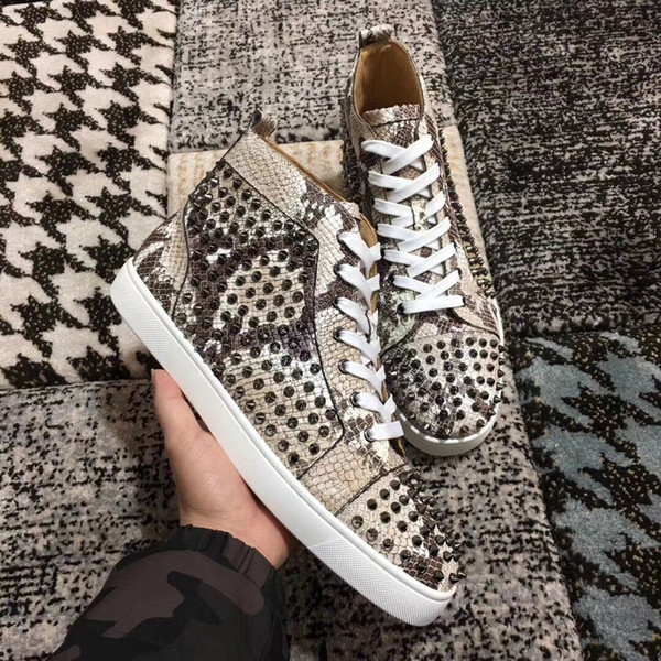 Elegant Designer Python Leather With Spikes Red Bottom Sneaker Shoes For Women,Mens Luxury Studs Casual Walking High Quality Leisure Flats