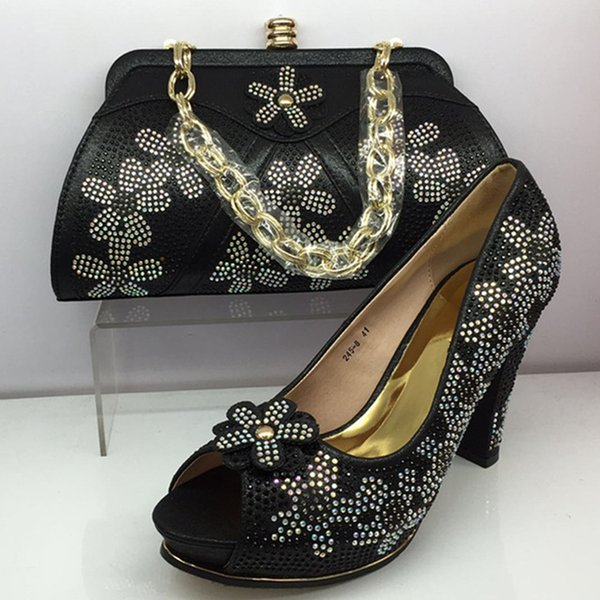 2019 brand fashion designer luxury handbags purses Italian Heeled shoes bag set for women Dress Tas Set Versierd met Strass Nigeriaanse Part