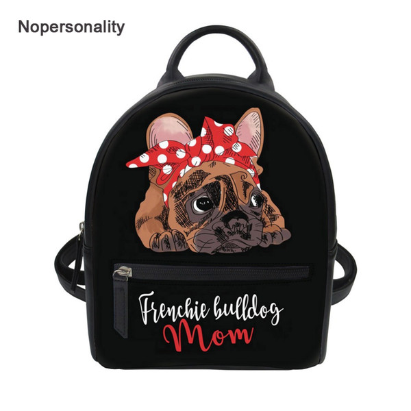 Nopersonality Siyah Fransız Bulldog Baskı Kadın Sırt Çantaları Sevimli Küçük Deri Koleji Kız Seyahat Backbag Mini Omuz Çantaları