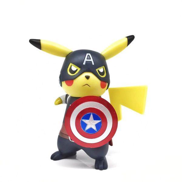 NOUVEAU hot 15cm Pikachu cos Captain America vengeurs action figure jouets collection de poupées cadeau de Noël avec boîte