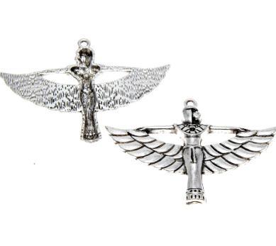 4 peças / lote Isis Charme Antiqued Tom de prata Deusa Egípcia Isis Charme pingentes 56X42mm