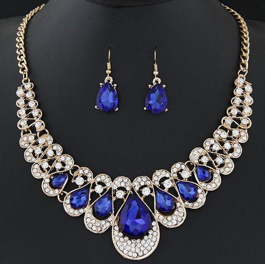 New Red/Blue/Black/Champagne/Transparent/Colors Luxurious Earring Necklace Set Blingbling Stone Necklaces Women Fashion Party Dinner jm002