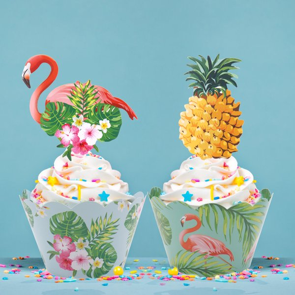 heap Decorating Supplies 24pcs/st Tropic Flamingo / Pineapple Cupcake Wrappers + Cake Topper for Hawaii Wedding Birthday Party Cake Deco...